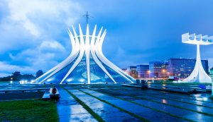 Cathedral of Brasilia at night, Brazil